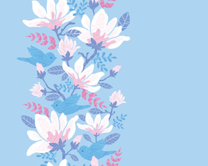 Vector birds among blossoms elegant vertical seamless ornament