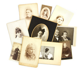 Antique Photos Collage on White Background