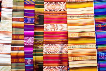 Traditional colorful textiles at Otavalo, Ecuador