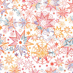 Vector Textured Christmas Stars Seamless Pattern Background