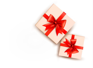 Holiday background with gift boxes with red bow. Vector illustra
