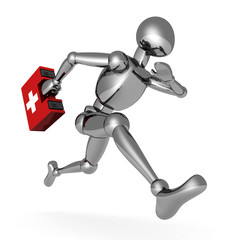 metallic 3d man running with first aid medical box