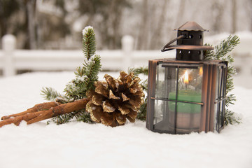 Christmas decoration, cone and candle light