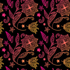 Black floral background with indian ornament