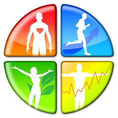 illustration with fitness and health icons