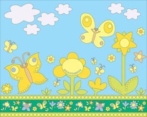 Zelfklevend Fotobehang Vlinders butterflies and flowers pattern