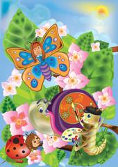 snail and caterpillar