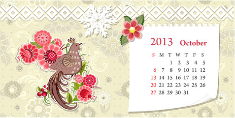 Calendar for 2013, october
