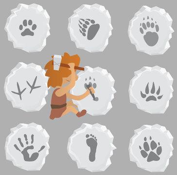 Prehistoric Stone Mason makes Animal and Human Signs
