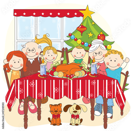 Christmas Celebration Images For Drawing.Christmas Dinner Happy Family Together Hand Drawing Stock