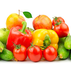 Composition of fruits and vegetables on white