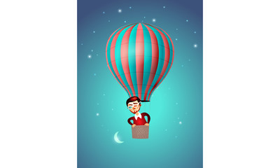 Hot Air Balloon, Man and Moon