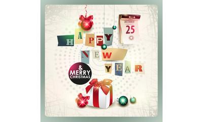 Christmas card with gift box. Eps 10