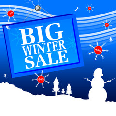 big winter sale vector illustration with number