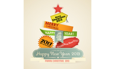 Christmas Tree of vintage new year labels.