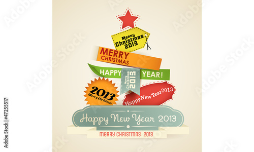 christmas tree of vintage new year labels