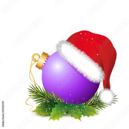 Weihnachtsdeko Lila.Weihnachtsdeko Lila Kugel Mit Mütze Und Zweige Stock Image And