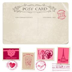 Vintage Postcard and Postage Stamps - for wedding design, scrap