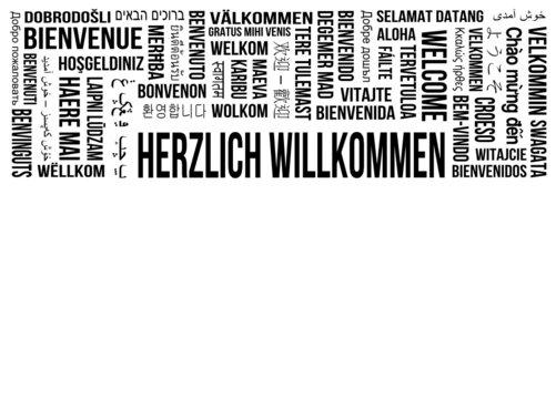 Herzlich Willkommen - Stichworte - verschiedene Sprachen