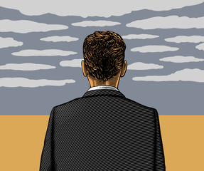 Vector illustration of lonely man with cloudy sky