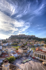 Fototapete - Monastiraki square and Acropolis in Athens,Greece