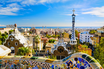Photo sur Toile Barcelone Park Guell in Barcelona, Spain
