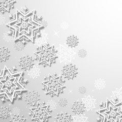 3d Snowflakes in Christmas background