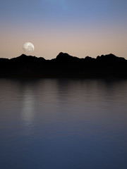 night moon and landscape silhouettes reflections 3d illustration