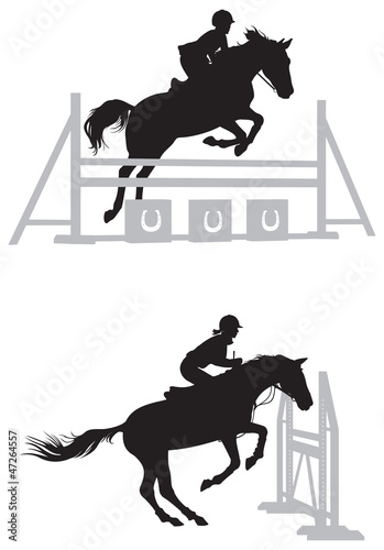 Show jumping horse silhouette