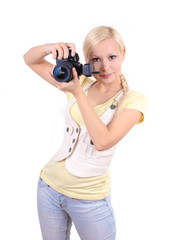 young beautiful girl with professional camera isolated