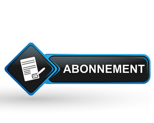abonnement sur bouton web carré design bleu