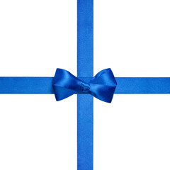 square composition with blue ribbons and a simple bow