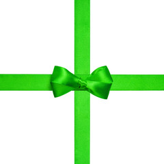 square composition with green ribbons and a simple bow