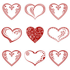 Valentine heart, pictogram, set