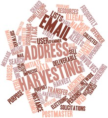Word cloud for Email address harvesting