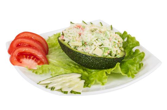 Crab meat salad with green caviar in avocado - japan cusine