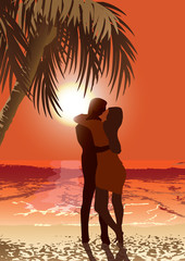 lovers in the tropical island
