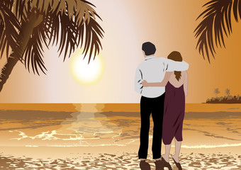 couple in the tropical island