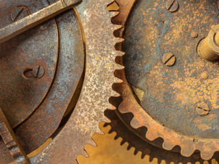 Set of old rusted gearwheels