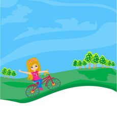 Papiers peints Avion, ballon little girl riding a bicycle