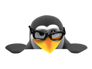 3d Penguin in glasses peeps over a blank space