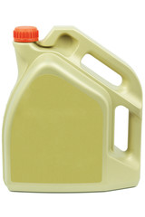 Engine oil can with a red cap on a white background
