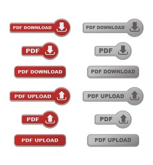 set of  upload anf download PDF button wirh hover state