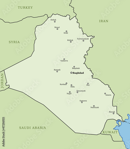 Iraq map - vector country outline with cities
