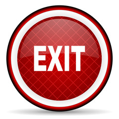 exit red glossy icon on white background