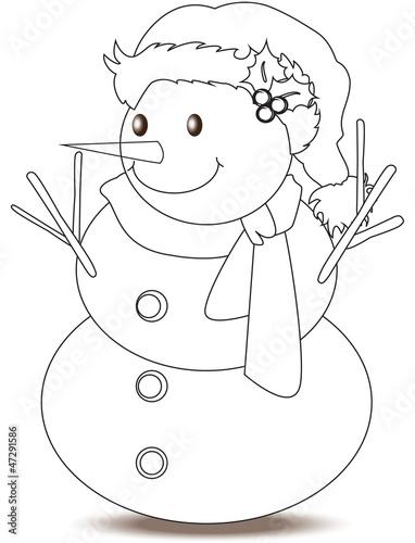 Pupazzo di neve da colorare immagini e vettoriali - Pupazzo di neve pagine da colorare ...