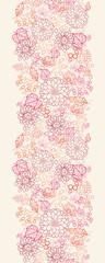 Vector flowers and berries line art vertical seamless pattern