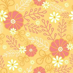 Vector vibrant hot flowers golden seamless pattern background