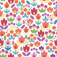 Vector abstract tulips seamless pattern background with