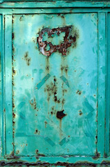 old green metal door